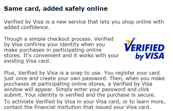 summary of verified by visa visa.com
