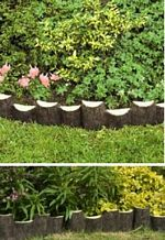 Garden Lawn Edging Log Look (Keep lawn from garden border Wood effect) picture click to read more