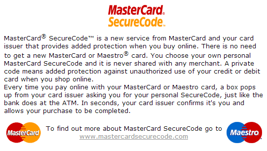 summary of mastercardsecurecode.com