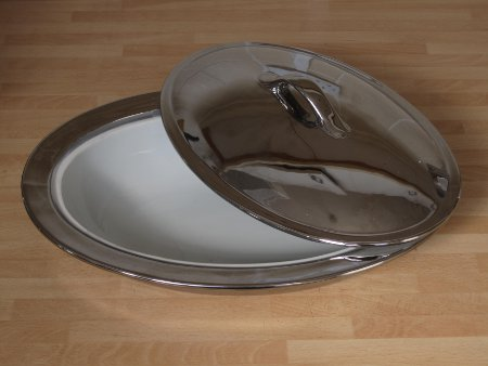 Porcelain Chrome Oval Dish With Lid picture